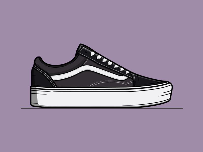 Old Skool Vans nike converse streetwear off the wall trainers sneakers old school old skool vans shoes shoe branding logo vector minimal illustration flat design