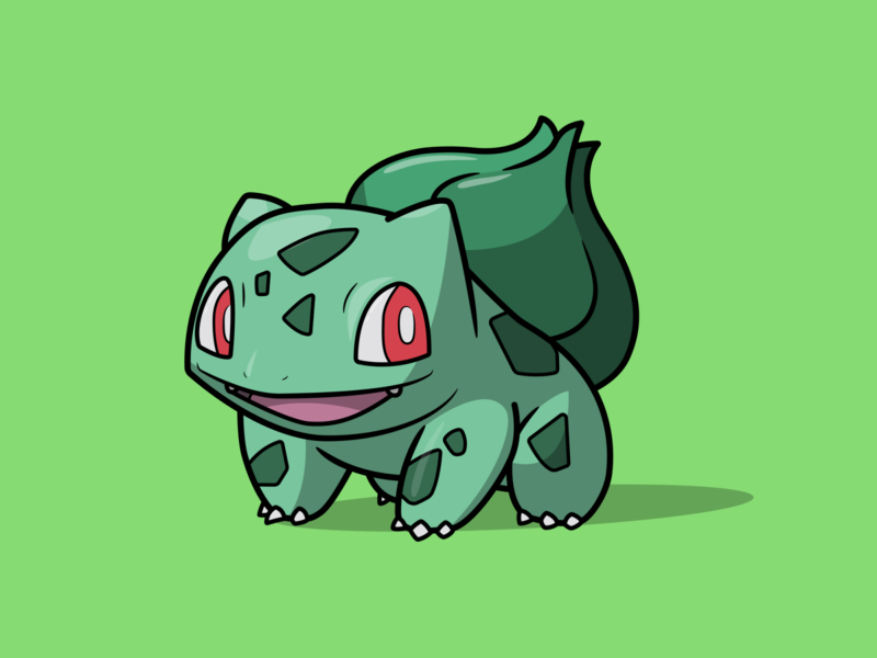 Bulbasaur cartoon illustration cartoon character cartoon bulbasaur pokémon pokemon go pokemongo pokemon vector minimal illustration flat design