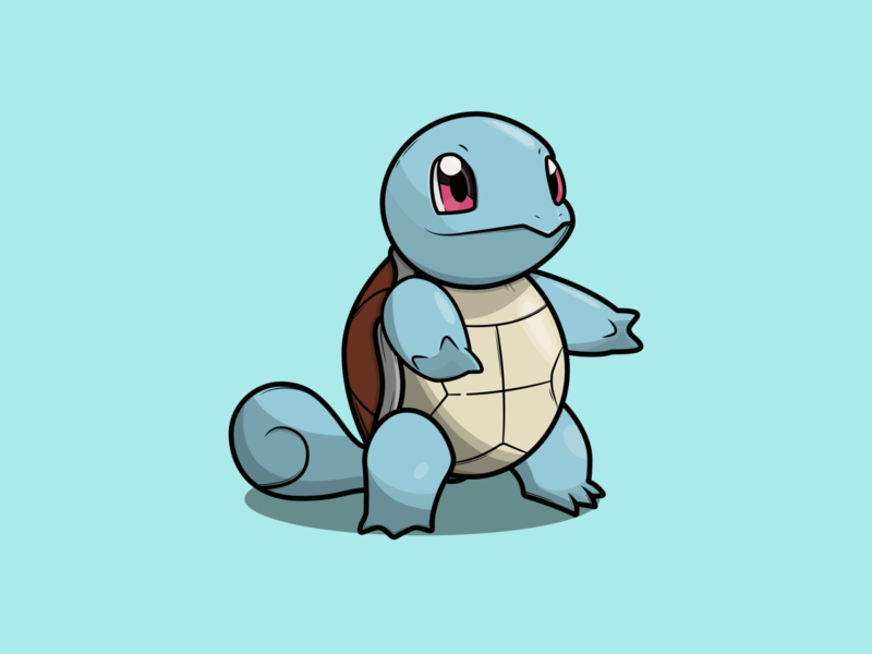 Squirtle cartoon illustration cartoon character cartoon pokémon pokemon go pokemongo pokemon vector minimal illustration flat design