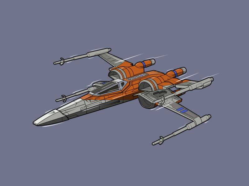 X-Wing (Poe Dameron) resistance rebel alliance rebellion rebel x-wing x wing starship spaceship poe dameron poe star wars starwars vector minimal illustration flat design