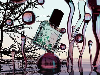 3d perfume branding water liquid ui  ux branding poster design 3d art neon modeling 3d graphicdesign graphic