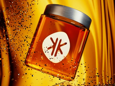 3D jar honney gold honey logo branding blender poster design 3d art modeling graphicdesign graphic 3d