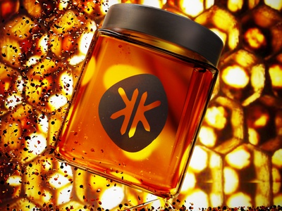 3D honey jar neon poster branding logo design 3d art modeling graphicdesign graphic 3d
