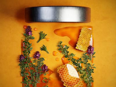 3D flowers honey plant honey liquid branding blender poster design neon 3d art modeling graphic 3d