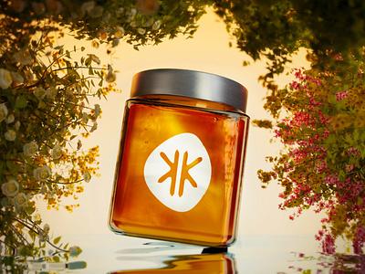 3D glass honey jar and flowers graphic design modeling flowers nature glass liquid 3d animation blender logo branding poster design 3d art graphic 3d