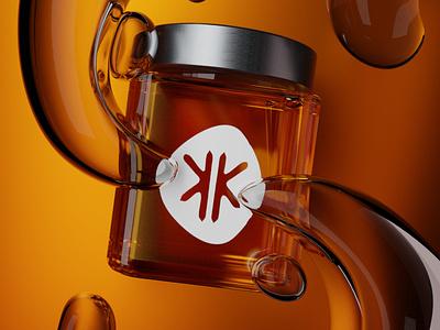 3D glass liquid jar honey neon logo branding blender poster 3d art modeling graphicdesign graphic 3d
