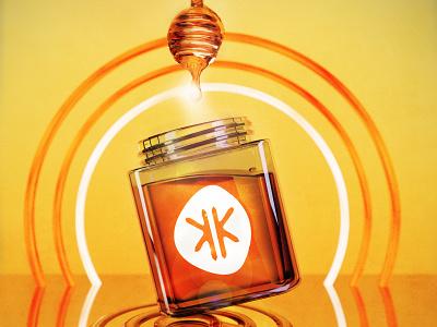 3D glass honey jar yellow honey glass logo branding design poster neon 3d art modeling graphicdesign graphic 3d