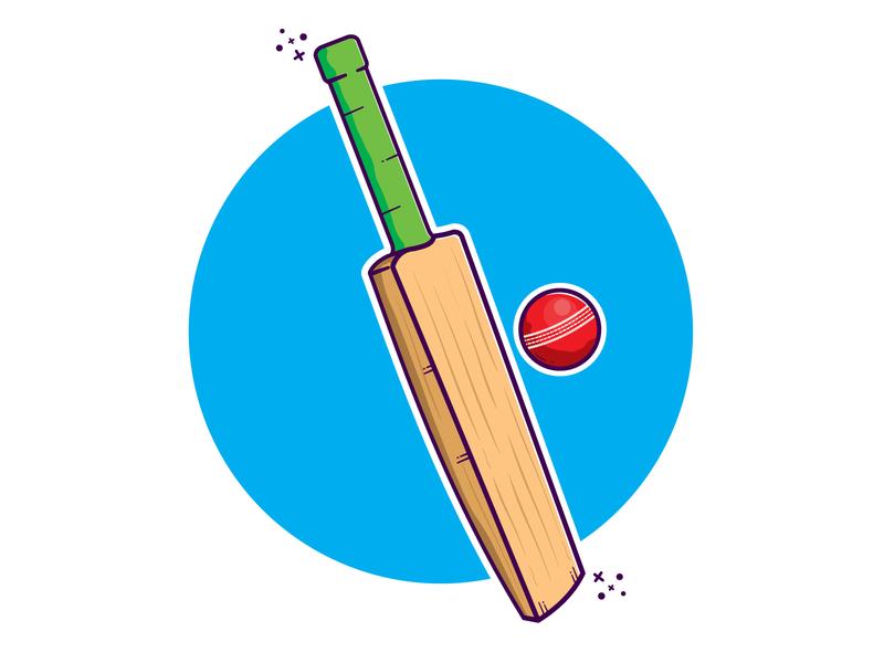 Cricket Bat and Ball cute art vector illustration cartoon clipart illustration vector minimal illustrator cricket bat and ball cricket bat and ball cricket ball cricket