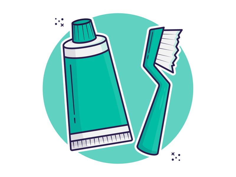 Toothpaste and Brush artwork minimal cartoon flat design cute art clipart illustraion vector tooth teeth toothbrush toothpaste
