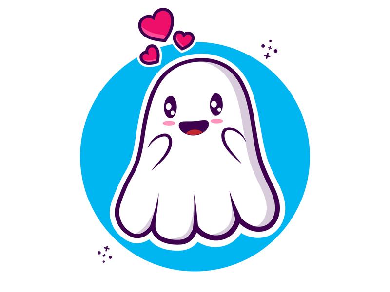 Cute Ghost design flat illustration cartoon cute art minimal clipart vector illustraion boo ghost ghost emoji cute ghost