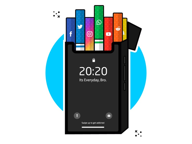 Smartphone Addiction vector illustration illustraion cute art vector minimal clipart cartoon illustration cigarette iphone addiction smartphone