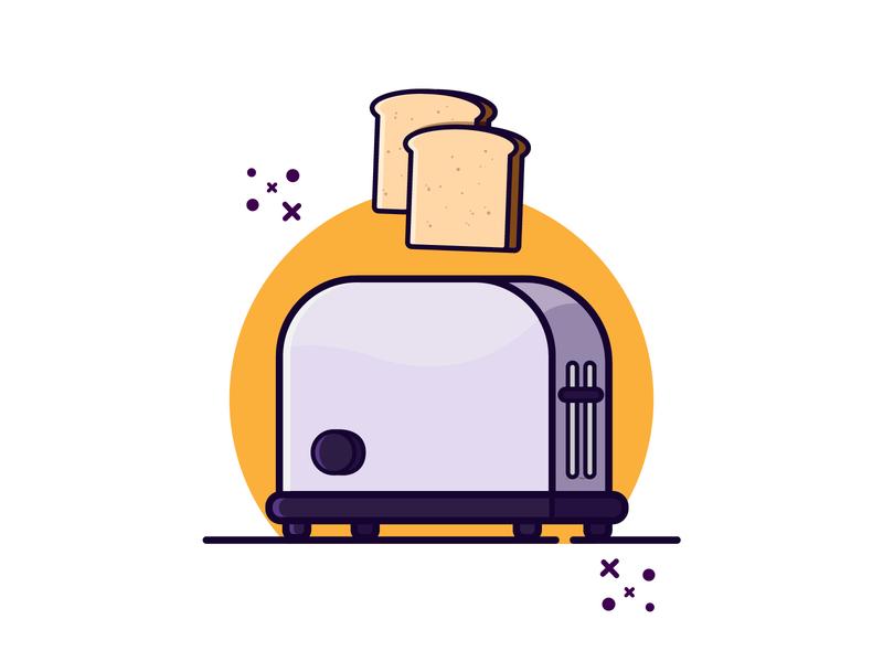 Toaster and Bread design artwork vector illustraion clipart cute art cartoon vector illustration illustration minimal bread