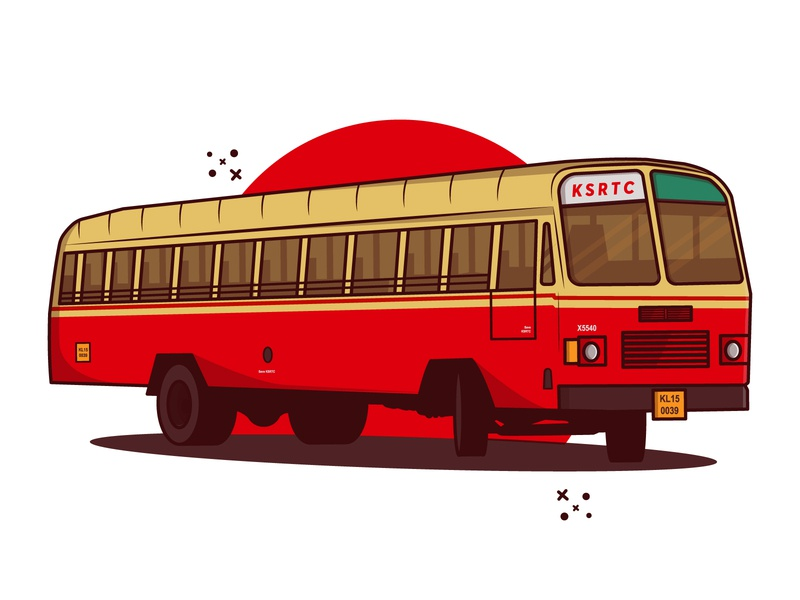 Old KSRTC Bus 'Aanavandi' flat cartoon artwork clipart illustraion vector illustration vector minimal illustration aanavandi skrtc old bus ksrtc bus ksrtc