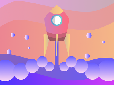 rocketship animation icon tyopgraphy branding designs illustration