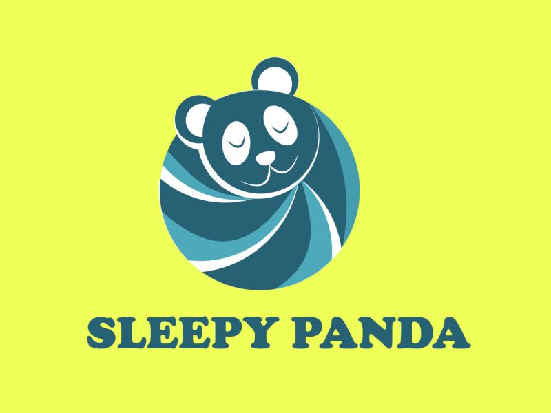 Sleepy panda panda panda logo graphic design graphicdesign flat vector logo illustration design