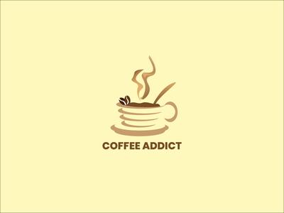 Coffee Addict coffeeshop coffee coffee cup graphic design graphicdesign vector logo illustration design