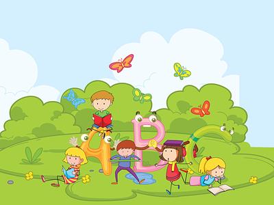 Kids reading in Garden Illustration Design outdoors