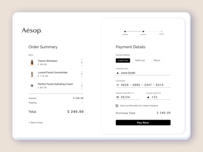 Checkout Page web design progress bar payment credit card checkout checkout daily ui 002 daily ui daily challange minimal figma beauty aesthetics aesop