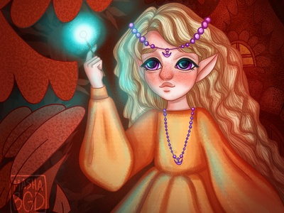 Girl with a magic wand portrait cover book art childrens book childrens illustration character design illustration