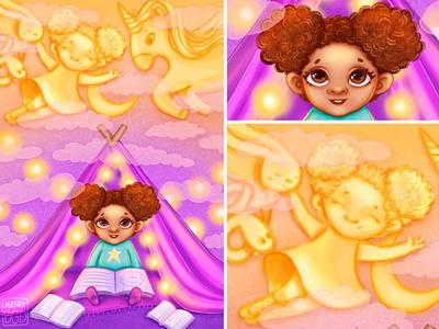 Illustration of the girl dreamer kids illustration child design childrens book illustration portrait art childrens illustration character design illustraion