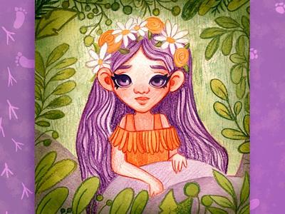 Illustration of a magical forest girl kids illustration portrait illustraion child design childrens book art character design childrens illustration illustration