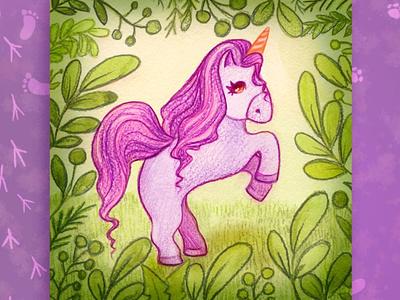 Illustration of a magical forest unicorn design kids illustration illustraion cover book portrait art childrens book childrens illustration character design illustration