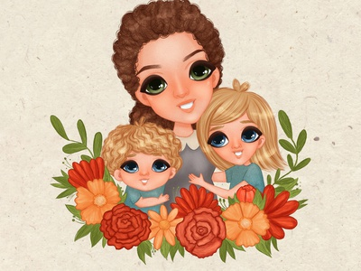 Portrait illustration with family characters child kids illustration design illustraion art portrait childrens book childrens illustration character design illustration
