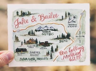 Oregon Watercolor Map Save the Date pacific northwest portland artist custom illustration roadmap educational illustration bend oregon illustrator oregon instructional design educational savethedate gouache ink watercolor map