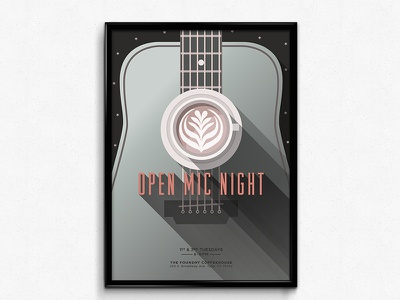 Open Mic Night Poster open mic night tyler tx texas coffee coffeehouse poster latte guitar clean kcmo