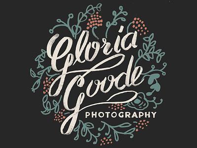 Gloria Goode Logo gloria goode photography logo hand lettering cursive girly flowers