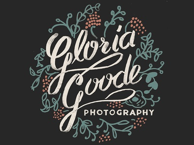 Gloria Goode Logo gloria goode photography logo hand lettering cursive girly flowers