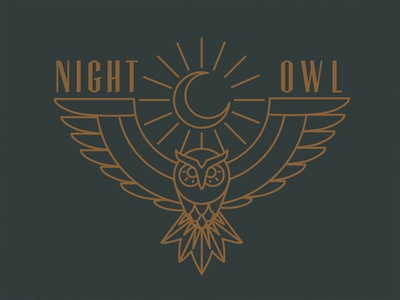 Night Owl owl night night owl moon monoweight line mono hoo dark witch symbol