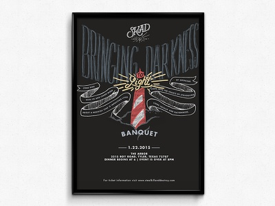 SKAD Banquet Poster skad banquet non-profit tyler texas kcmo hand lettering illustration lighthouse poster warped tour