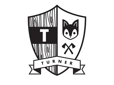Turner Badge turner sheild badge logo fox axe baby t banner wood simple clean