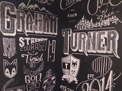 Chalk Wall Design chalk wall illustration hand lettering type handdrawn baby turner