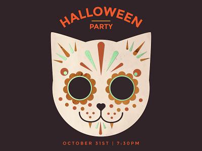 Halloween Party halloween cat kitten cats party sugar skull skull cute october kc meow illustration