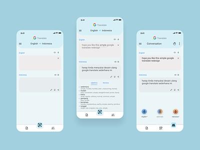 Google Tranlate Redesign flat minimal typography uiux uidesign mobile icon app ui ux design