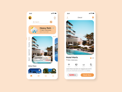 Travel Booking App house beach book booking travel hotel illustration uidesign mobile icon ui app ux design
