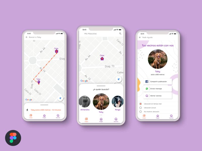 Pet Tracking App figma visual design concept maps mobile app trend vector design argentina illustration app