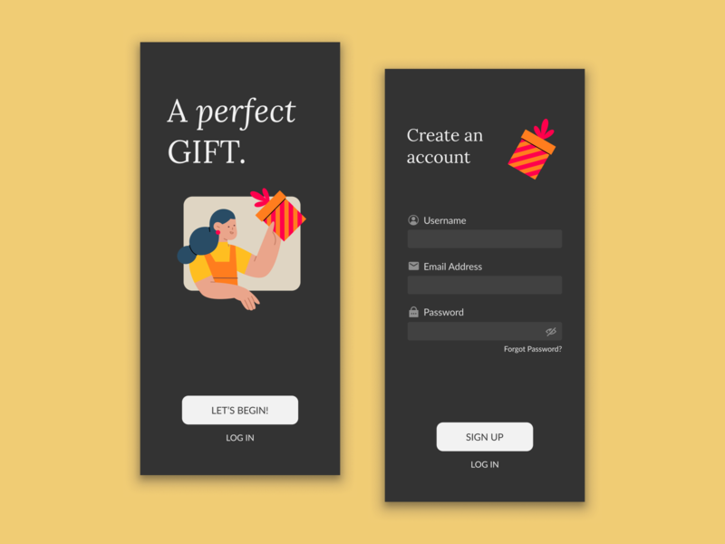 Sign up | Daily UI 01 gifts ilustration account log in sign up vector ui ux app argentina design figma dailyuichallenge