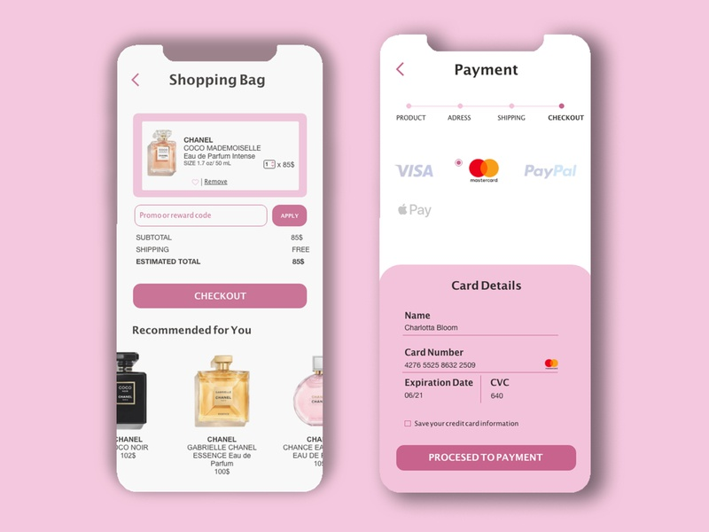 Checkout process payment card uidailychallenge product beauty france shopping bag basket pinky uidesigner ui design ui uidaily typography illustration design