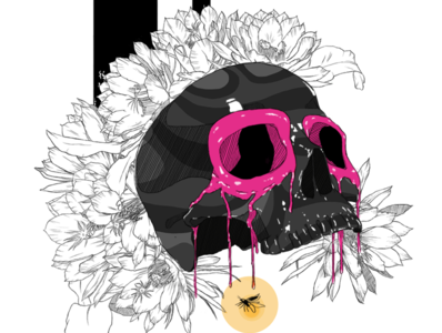 Fireflies tattoo design pink black lineart design colors photoshop illustration digitalart