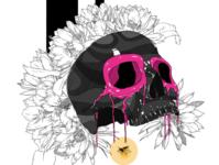 Fireflies tattoo design pink black lineart design colors photoshop illustration digitalart