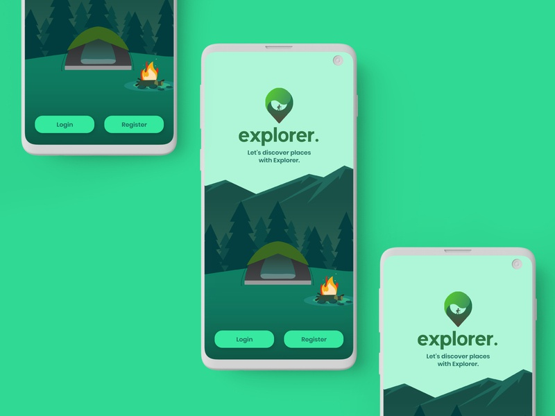 Travel App Onboarding Screen camp tent app design logo ui  ux ui design uidesign green travel app mountains travel explorer camping adobe xd adobexd ui illustration adobe adobe illustrator design