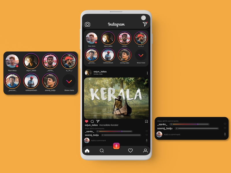 Instagram Redesign : Voice Comments dark mode dark ui instagram template app design interface ux adobe photoshop uidesign redesign concept redesign figma adobexd adobe xd instagram ui design ui  ux uiux ui adobe illustrator design