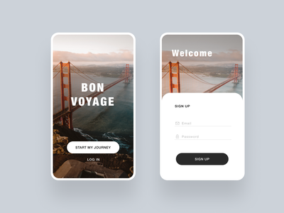 Bon Voyage Sign up page dailyuichallenge dailyui ui userexperiencedesign joblisting opentowork hireme designinspiration uxdesigner userinterfacedesign uidesigner uidesign minimal design