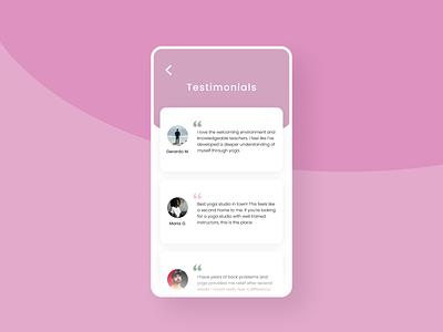 Yoga class testimonial mobile screen design hireme designinspiration userinterfacedesign minimal uidesigner uidesign