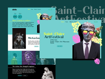 Saint Claire ArtFestival Web Design event art direction artwork poster art poster photoshop affinity affinitydesigner ui design ui  ux uiux ui art