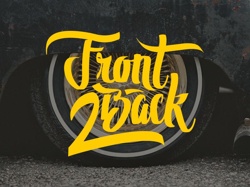 Front 2 Back logo typography calligraphy lettering script branding handlettering text brushpen
