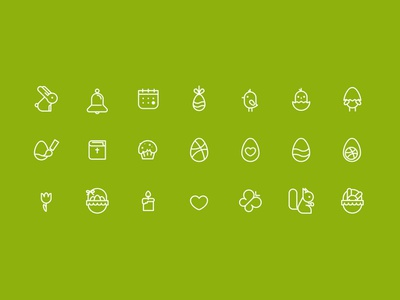 Easter and spring themed icons illustration ios vector flat web glyphs icons iphone spring